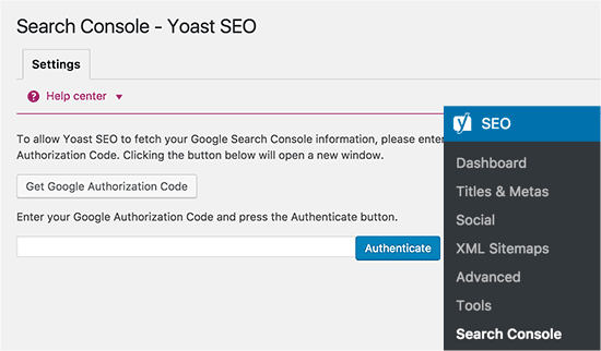 Connect to Google Search Console from Yoast SEO