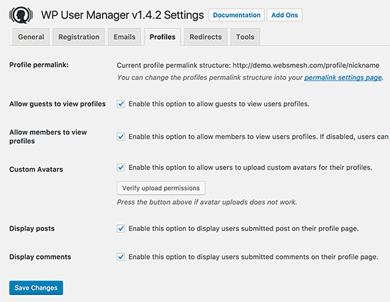 User profile page settings
