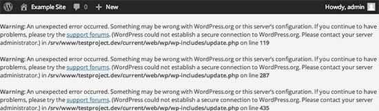 Kesalahan koneksi aman di WordPress