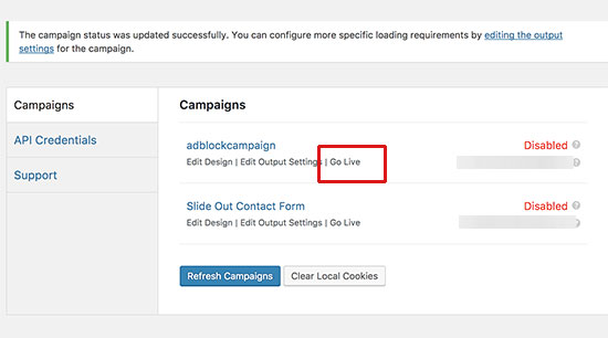 Enable campaign to go live on your website