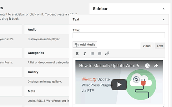 oEmbed in sidebar widgets