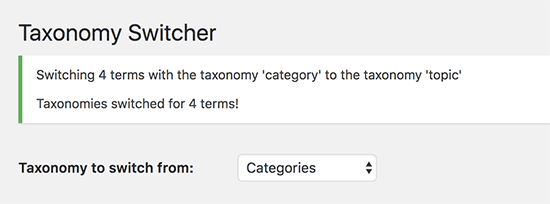 Successfully switched taxonomies