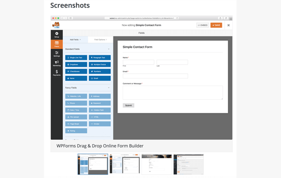 WordPress Plugin Screenshots - WPForms