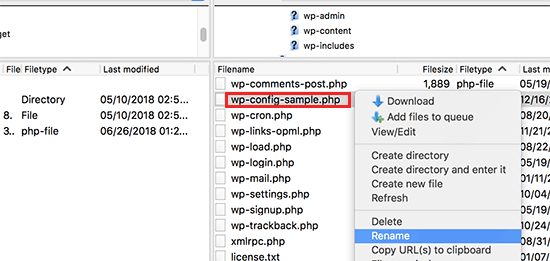 Rename wp-config-sample.php file