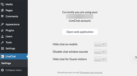 LiveChat WordPress settings