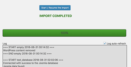 Succesful import