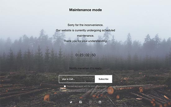 Preview of the maintenance mode page