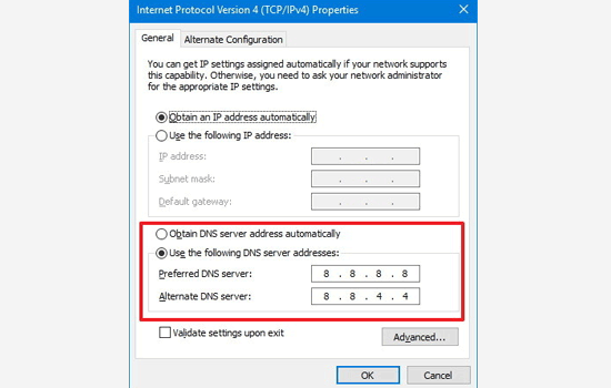 Changing DNS servers in Windows
