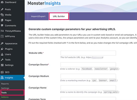 URL builder in MonsterInsights