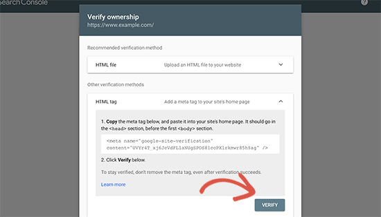 Verify your ownership of the website
