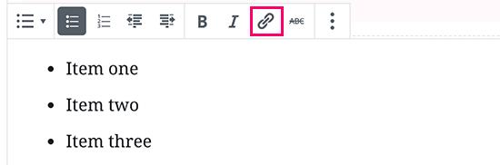 Link-knappen i listeblokken