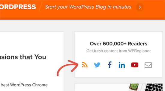 RSS feed icon on WPBeginner