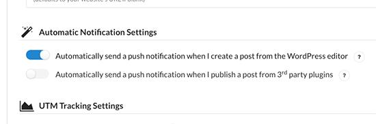 Automatic notification settings