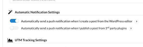 Automatic notification settings
