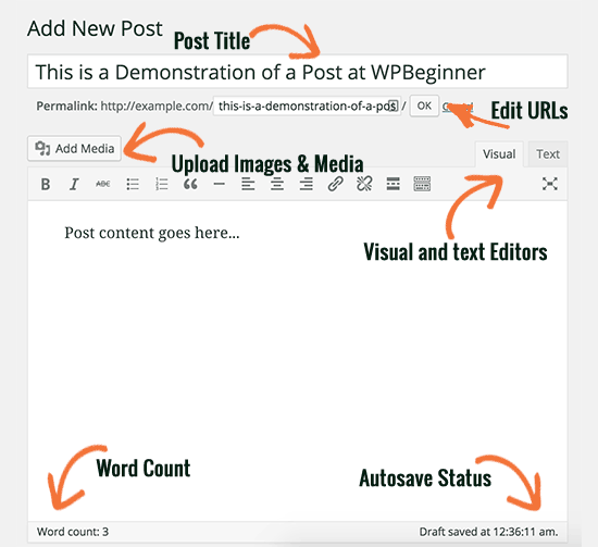 Titel- en inhoudsvakken in de klassieke editor