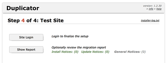 Duplicator website migration finished