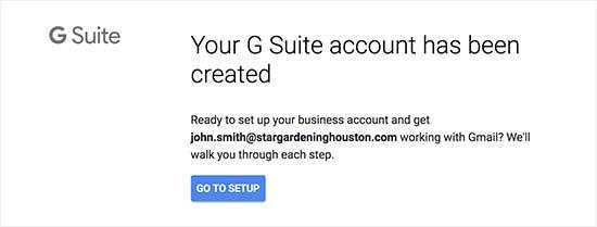 Настройка учетной записи G Suite завершена