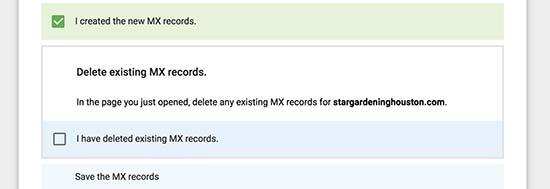 MX записи созданы