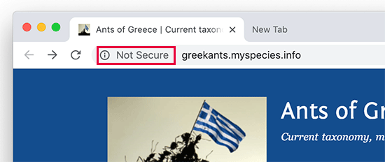 Not secure label shown in Google Chrome web browser
