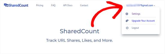 Аккаунт SharedCounts.com