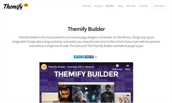 Plugin Themify Page Builder untuk WordPress