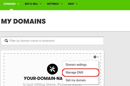 Launch DNS management in GoDaddy