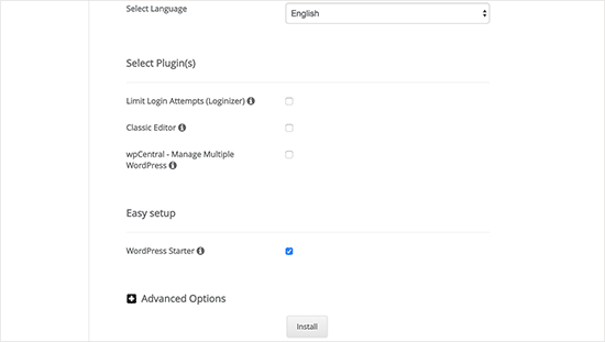 Optional WordPress settings in Softaculous