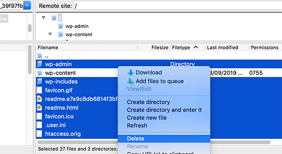 Delete all WordPress files except wp-content folder