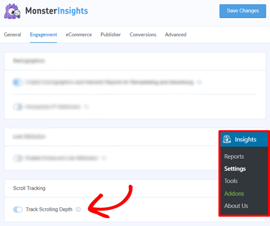 MonsterInsights Scroll Depth Tracking Option
