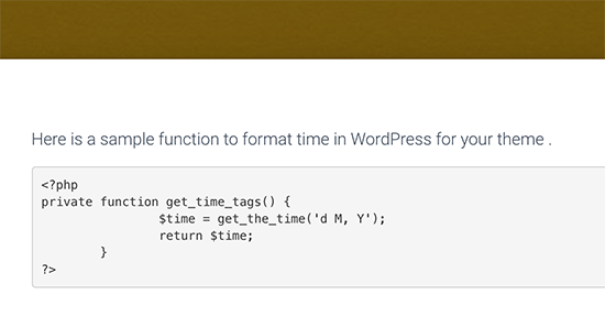 PHP code displayed in WordPress