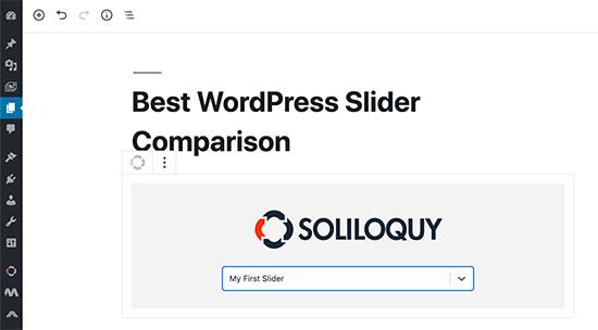 Soliloquy block in Gutenberg editor