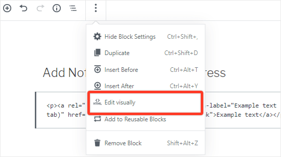 Seleccione editar visualmente opción