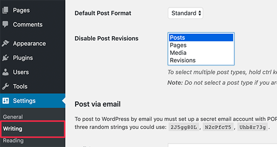 Disable revision plugin