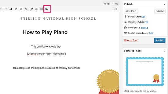 Редактирование сертификата в LearnDash