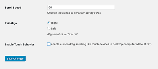 Scroll options