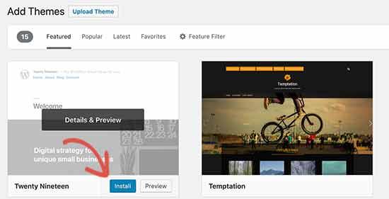 Instal dan aktifkan tema WordPress default