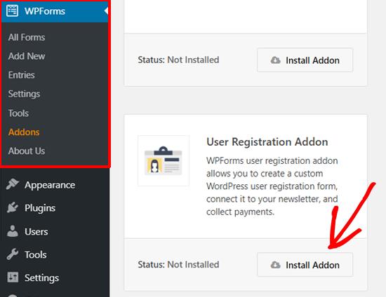 Instal Addon Pendaftaran Pengguna WPForms
