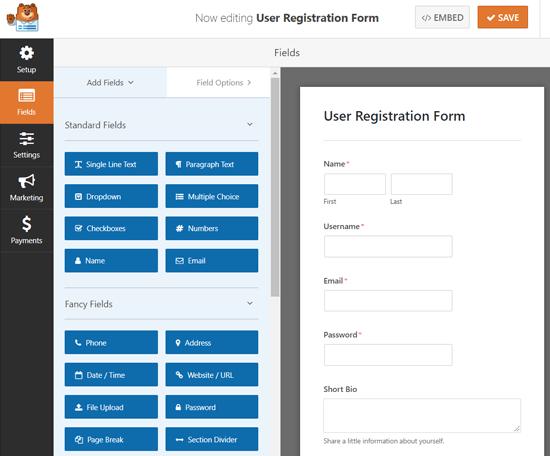 Formulir Pendaftaran Pengguna Pembangun WPForms