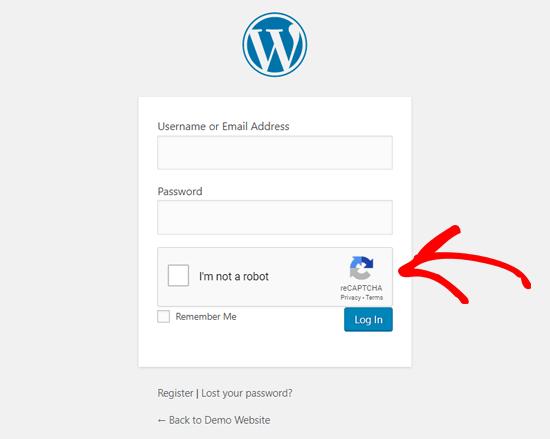 WordPress Login Page With Google reCAPTCHA