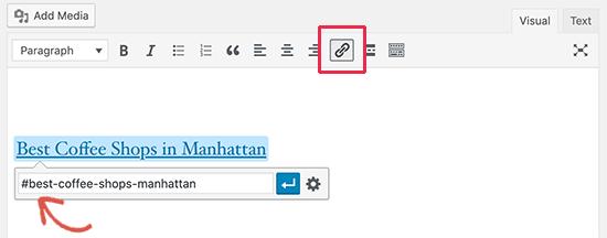 Menambahkan tautan tautan di Editor Klasik