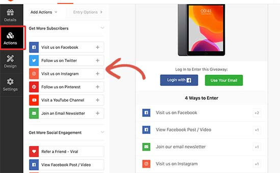 Adding actions to your Facebook giveaway