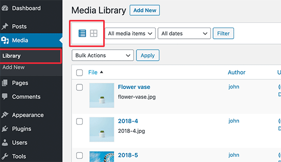 Switching from grid to list view in WordPress media library