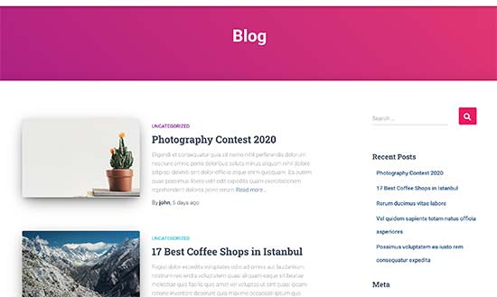 Blog page preview