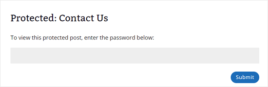 The contact page now shows 'Protected: Contact Us' as the title and requires a password