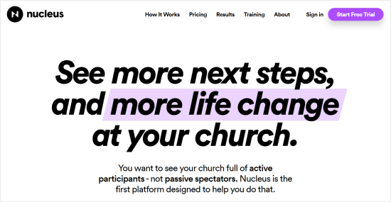Nucleus website builder for churches
