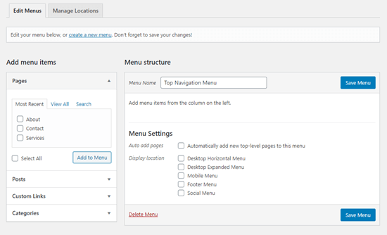A newly created menu in WordPress