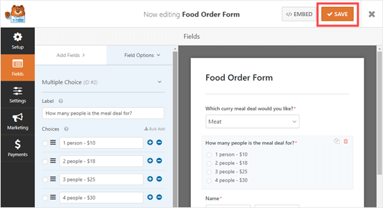 Save your online food order form