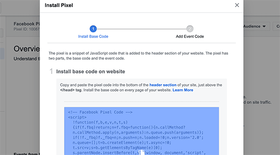 Copiar código de pixel do Facebook