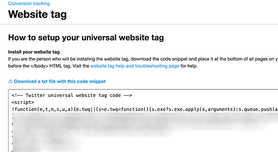 Copy Twitter conversion tracking website tag