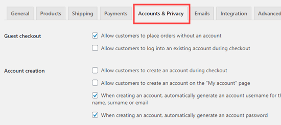 The Accounts and Privacy tab in the WooCommerce settings